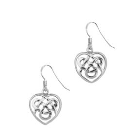 Celtic Knot Silver Heart Drop Earrings 0567